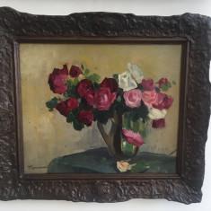 Teodor Romanati - Flori , ulei pe carton 42 x 53 cm