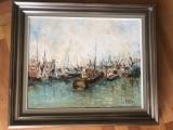 Tablou,pictura belgiana in ulei pe panza,barci in port,semnat, Peisaje, Altul