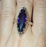 inel argint 925  cu ametist mare natural!! MARQUIZE cut