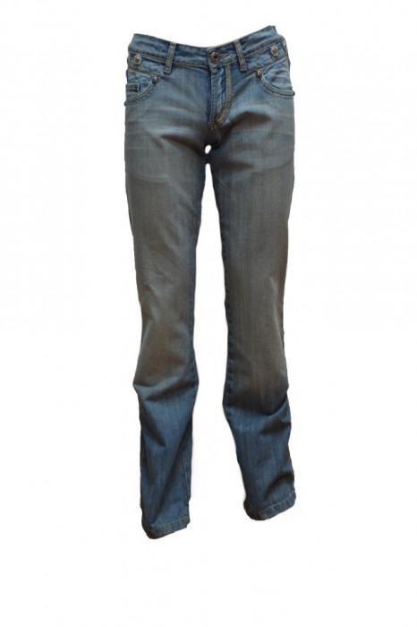 Pantalon barbatesc cu aplicatii metalice,model simplu,nuanta de albastru