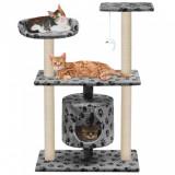Ansamblu pisici, stâlpi funie sisal, 95 cm imprimeu lăbuțe Gri, vidaXL