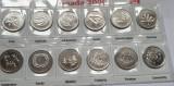 Set complet 12 monede 25 cents 2000 Canada, intrarea in Mileniul III, unc, America de Nord