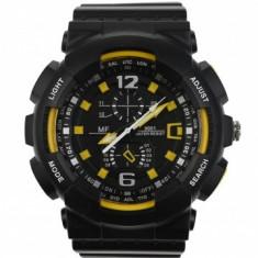 Ceas de mana barbati sport analog negru cu galben - MF9001Q