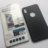 Husa silicon + Folie de Sticla Securizata iphone X, Negru