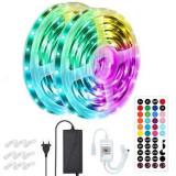 Cumpara ieftin Kit Banda LED RGB Light,15 Metri,Bluetooth Controlul APP,cu Telecomanda IR 44 Taste,SMD 5050,12V,Multicolor