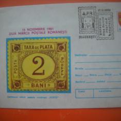 HOPCT  PLIC 909  CENTENARUL MARCII POSTALE ROMANESTI -1981 -ZIUA MARCII -ROMANIA