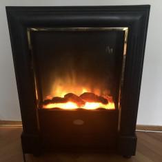 Semineu german,cu suflanta si efect vizual de lemne arzand cu jar si flacara