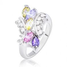 Inel cu bobițe din zirconii colorate și brațe rotunjite - Marime inel: 51
