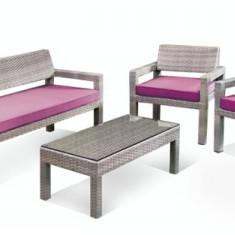 Set mobilier terasa,gradina KALINA BAHIA din ratan 4 piese masa,canapea,2 fotolii. Raki