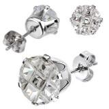 Cumpara ieftin Cercei din oțel - zirconiu rotund lustruit, închizătoare cu șurub - Dimensiune stras: 7 mm
