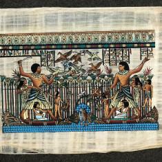 PICTURA PRAF AUR CULORI VII FOSFORESCENTE pe PAPIRUS AUTENTIC HANDMADE ORIGINAL