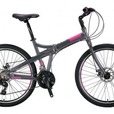 """Bicicleta Mosso Marine 2D pliabila, Aluminiu , Roata 26"""" , Culoare Gri/RozPB Cod:M01MSO2600517002"""