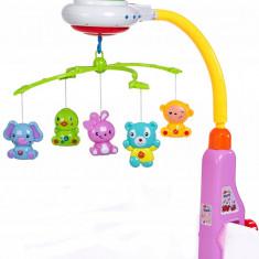 Carusel muzical de jucarie pentru bebelus, cu proiector de stelute - 917