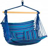 Hamac Brazilian tip Scaun Suspendat pentru Curte sau Gradina, cu 2 perne, 100x100cm, albastru