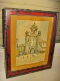 3182-R.Beckers Tablou mic acuarela vechi-Intrare in oras cladire mare cu poarta., Peisaje, Impresionism