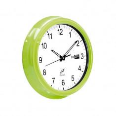 Ceas de perete, vintage, metalic, Evviva, verde, 35 cm