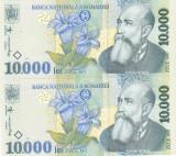 Bancnota Romania 10.000 Lei 1999 - P108 UNC ( 2 buc serii consecutive )