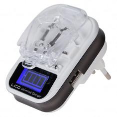 Incarcator acumulatori Rebel, 3000 mAh, port USB, afisaj LCD