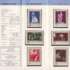 1967 Romania, Reproduceri de arta LP 644, pliant filatelic de prezentare