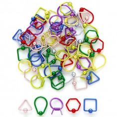 Inel cu bile - forme geometrice - Culoare Piercing: Galben, Formă piercing: Pătrat