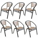 Set 6 scaune cu brate POLYWOOD NATURAL 77x40x37cm B003050-95312 Raki