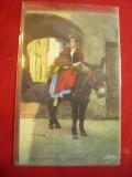 Ilustrata circulata 1936 Taranca din Nice calare pe magar- La Cote D'Azur Franta, Printata