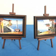 Tablouri miniaturale,picturi in ulei,cu sevalet