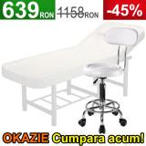 Scaun salon cu spatar + Masa cosmetica, Pat masaj profesional Alb, Piele ECO