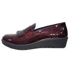 Pantofi dama, din piele naturala, marca Walk, 9214-30-38, visiniu inchis , marime: 39