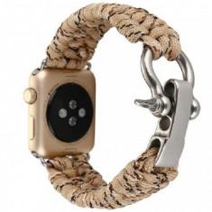 Cumpara ieftin Curea pentru Apple Watch 42 mm iUni Elastic Paracord Rugged Nylon Rope, Cream