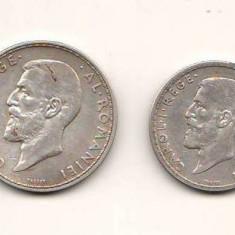 SV * Romania  LOT  1 LEU + 2 LEI  1910   ARGINT .835 * Regele Carol I     +/- VF