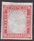 Italy Sardinia 1855 Definitives, King Viktor Emanuel II, 40c carmine, MLH AM.233, Nestampilat