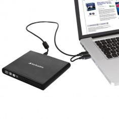 DVD-RW extern Verbatim Slimline 98938, USB 2.0, Negru