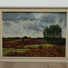 PEISAJ tablou / pictura ulei panza Sattler 1958, Peisaje, Impresionism