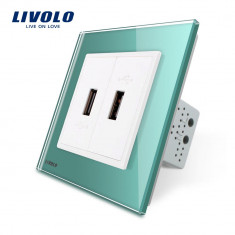 Priza dubla USB Livolo cu rama din sticla, Verde