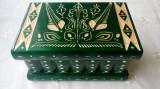 Cutie puzzle bijuterie cu cheia ascunsa secreta culoare verde decoratiune, Lemn, Europa