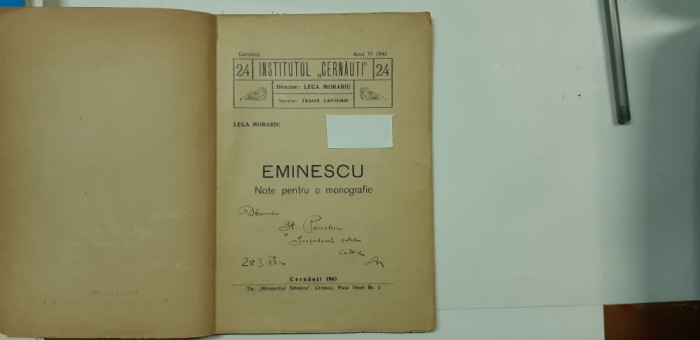 Eminescu:Leca Morariu, Eminescu.Note pentru o monografie,Cernauti,1943