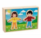 Puzzle lemn in cutie - Vestimentatia fetei si a baiatului