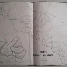 Hartă veche Munții Bistriței Moldovene și Munții Dornei