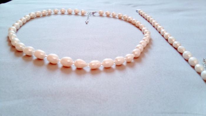 PERLE NATURALE_Colier si bratara perle bob de orez, albe, de apa dulce