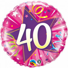 Balon aniversar 40 ani roz din folie metalizata 43cm