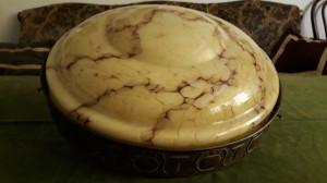 STICLA VECHE ARTDECO - LAMPA GIGANT CU ABAJUR - MARMORATA - PIESA DE COLECTIE