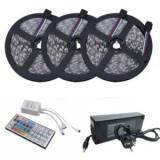 Kit Banda Led RGB 5050,60led/M IP20, Transformator 10A, 15Metri