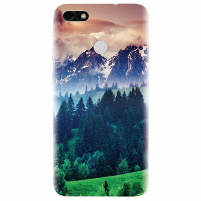 Husa silicon pentru Huawei P9 Lite, Forest Hills Snowy Mountains And Sunset Clouds foto