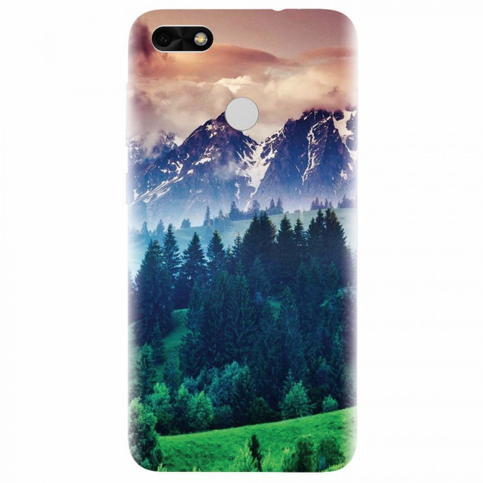 Husa silicon pentru Huawei P9 Lite, Forest Hills Snowy Mountains And Sunset Clouds