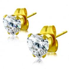 Cercei aurii din oțel - zirconiu transparent în formă de inimă