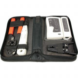 Trusa scule retea LogiLink WZ0012, 4 piese, tester cablu de retea, cleste sertizare, instrument fixare/taiere cablu in slot, instrument de decapare cu