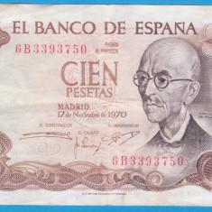 (2) BANCNOTA SPANIA - 100 PESETAS 1970 (17 NOIEMBRIE), PORTRET MANUEL DE FALLA