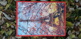 Tablou canvas handmade cu puzzle integrat. Marimi: L = 56 cm; l = 36,8 cm., Nonfigurativ, Acrilic, Art Deco