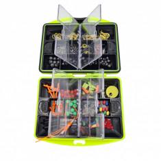 Kit accesorii pentru pescuit, 24 compartimente, 186 piese, cutie culoare verde